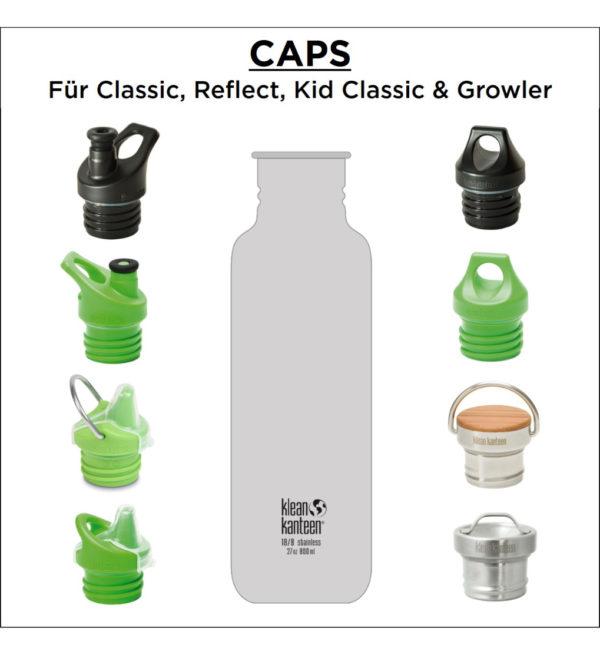 Klean Kanteen Classic einwandig 800ml mit Loop Cap Caps