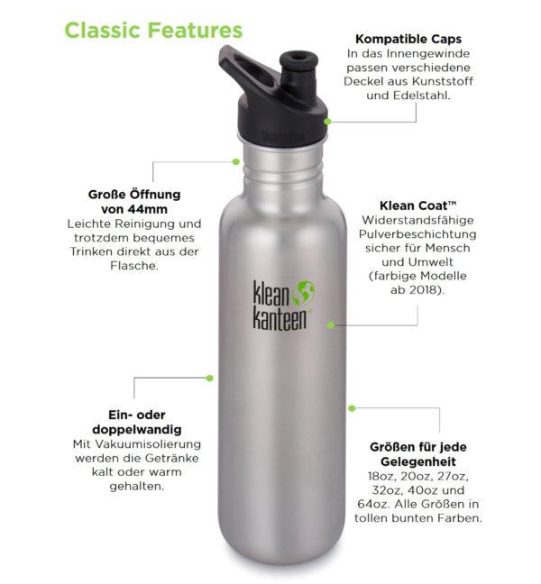 Klean Kanteen Classic einwandig 800ml mit Loop Cap Vorteile