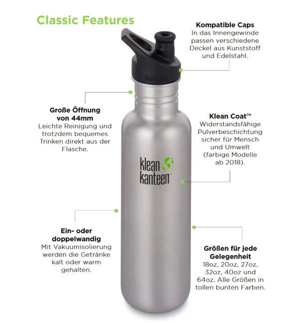 Klean Kanteen Classic einwandig 800ml mit Sport Cap Vorteile