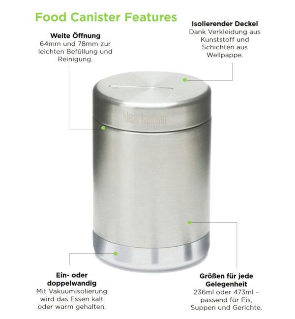 Klean Kanteen Food Canister einwandig 473ml Vorteile