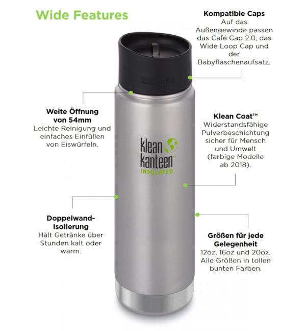 Klean Kanteen Wide Vacuum Insulated 592ml mit Cafe Cap Vorteile