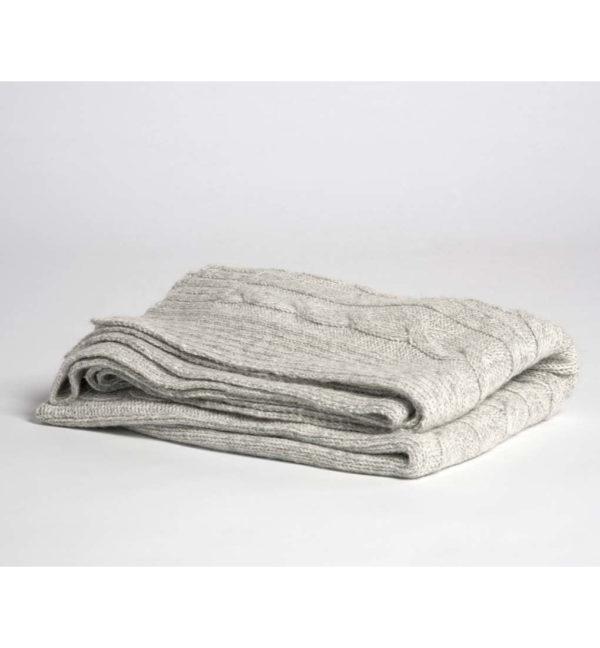 yumeko Alpaka Knitted Plaid light grey