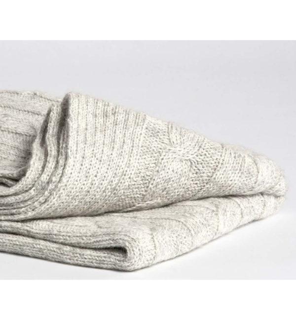 yumeko Alpaka Knitted Plaid light grey Detail